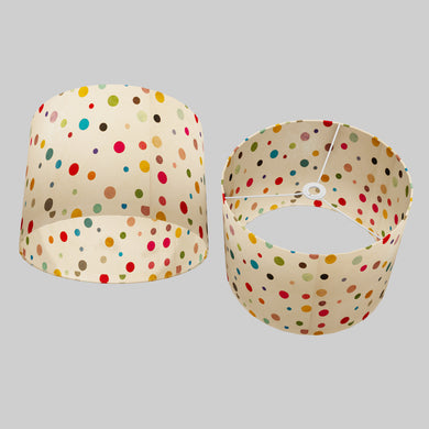 Drum Lamp Shade - P39 - Polka Dots on Natural Lokta, 40cm(d) x 30cm(h)