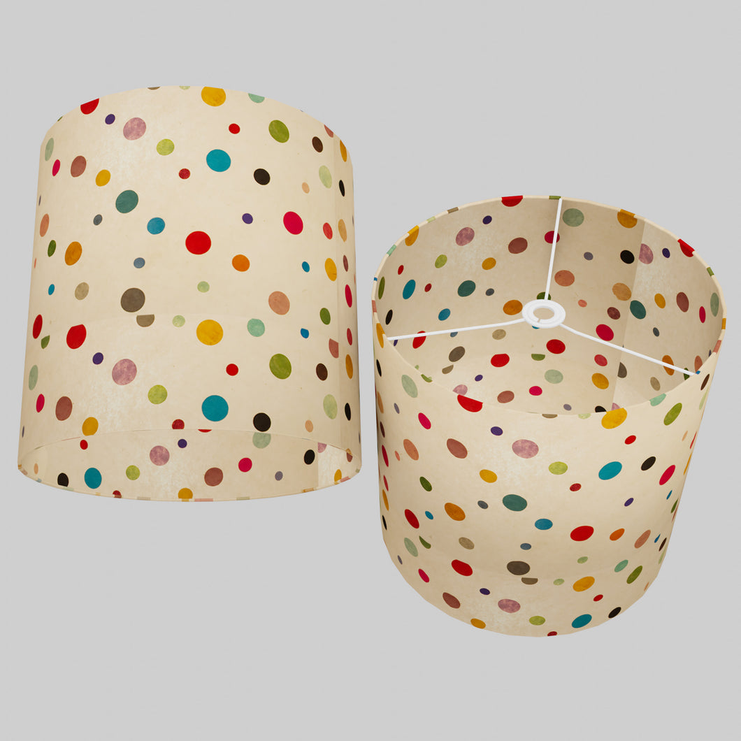 Drum Lamp Shade - P39 - Polka Dots on Natural Lokta, 40cm(d) x 40cm(h)