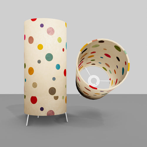 Free Standing Table Lamp Small - P39 ~ Polka Dots on Natural Lokta