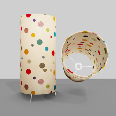 Free Standing Table Lamp Large - P39 ~ Polka Dots on Natural Lokta