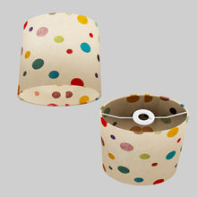 Oval Lamp Shade - P39 - Polka Dots on Natural Lokta, 20cm(w) x 20cm(h) x 13cm(d)