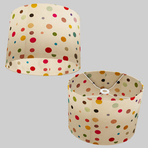 Oval Lamp Shade - P39 - Polka Dots on Natural Lokta, 40cm(w) x 30cm(h) x 30cm(d)