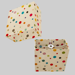 Rectangle Lamp Shade - P39 - Polka Dots on Natural Lokta, 30cm(w) x 30cm(h) x 15cm(d)