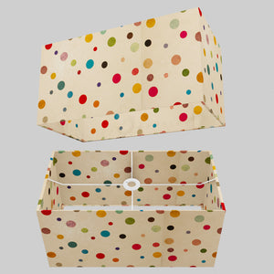 Rectangle Lamp Shade - P39 - Polka Dots on Natural Lokta, 50cm(w) x 25cm(h) x 25cm(d)