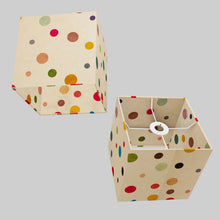 Square Lamp Shade - P39 - Polka Dots on Natural Lokta, 20cm(w) x 20cm(h) x 20cm(d)