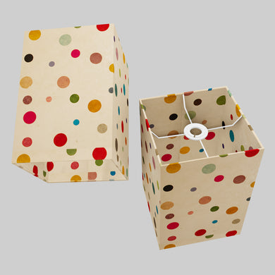 Square Lamp Shade - P39 - Polka Dots on Natural Lokta, 20cm(w) x 30cm(h) x 20cm(d)