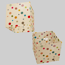 Square Lamp Shade - P39 - Polka Dots on Natural Lokta, 30cm(w) x 30cm(h) x 30cm(d)