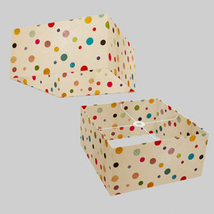Square Lamp Shade - P39 - Polka Dots on Natural Lokta, 40cm(w) x 20cm(h) x 40cm(d)