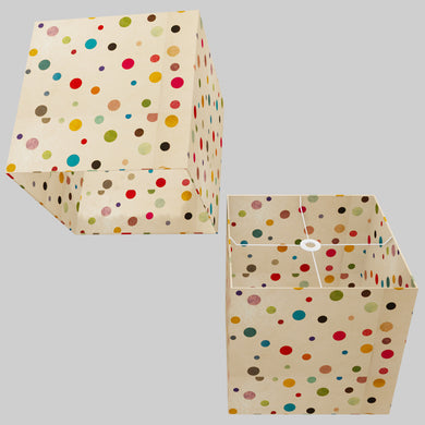 Square Lamp Shade - P39 - Polka Dots on Natural Lokta, 40cm(w) x 40cm(h) x 40cm(d)