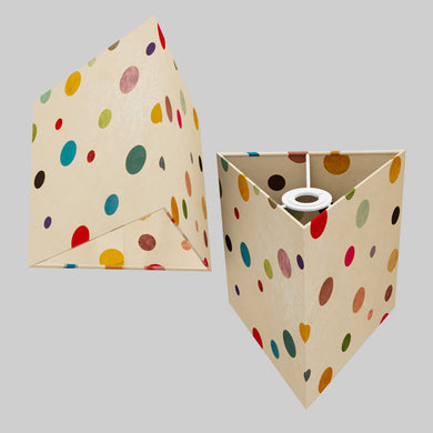 Triangle Lamp Shade - P39 - Polka Dots on Natural Lokta, 20cm(w) x 20cm(h)