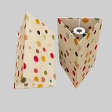 Triangle Lamp Shade - P39 - Polka Dots on Natural Lokta, 20cm(w) x 30cm(h)