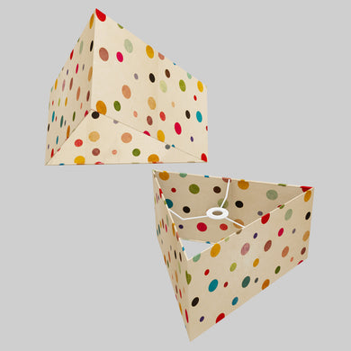 Triangle Lamp Shade - P39 - Polka Dots on Natural Lokta, 40cm(w) x 20cm(h)