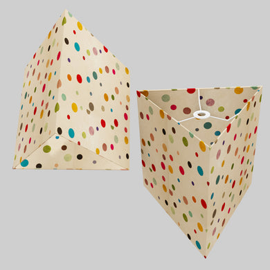Triangle Lamp Shade - P39 - Polka Dots on Natural Lokta, 40cm(w) x 40cm(h)