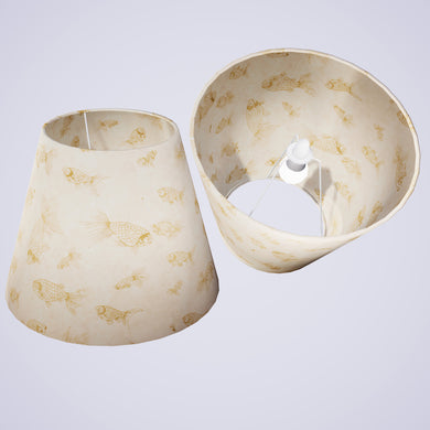 Conical Lamp Shade P40 - Gold Fish Screen Print on Natural Lokta, 23cm(top) x 40cm(bottom) x 31cm(height)
