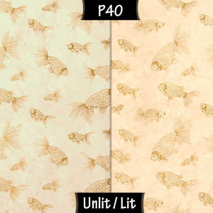 Oval Lamp Shade - P40 - Gold Fish Screen Print on Natural Lokta, 20cm(w) x 30cm(h) x 13cm(d)