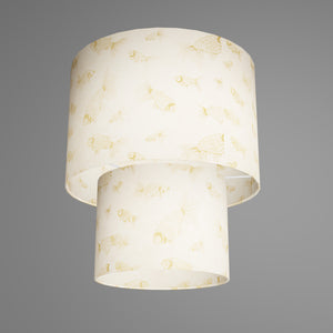 2 Tier Lamp Shade - P40 - Gold Fish Screen Print on Natural Lokta, 30cm x 20cm & 20cm x 15cm