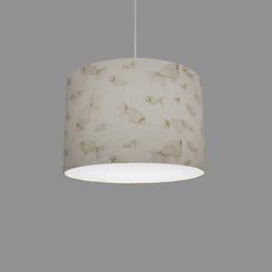 Drum Lamp Shade - P40 - Gold Fish Screen Print on Natural Lokta, 30cm(d) x 20cm(h)