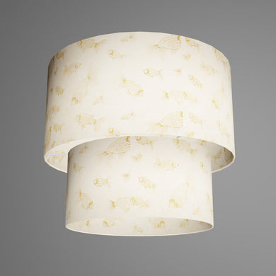 2 Tier Lamp Shade - P40 - Gold Fish Screen Print on Natural Lokta, 40cm x 20cm & 30cm x 15cm