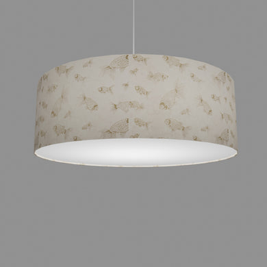 Drum Lamp Shade - P40 - Gold Fish Screen Print on Natural Lokta, 60cm(d) x 20cm(h)