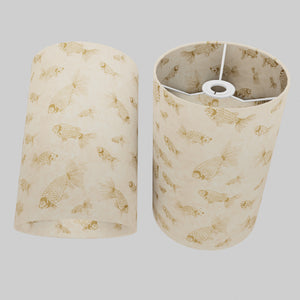 Drum Lamp Shade - P40 - Gold Fish Screen Print on Natural Lokta, 20cm(d) x 30cm(h)