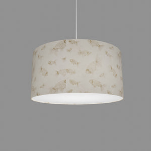 Drum Lamp Shade - P40 - Gold Fish Screen Print on Natural Lokta, 40cm(d) x 20cm(h)