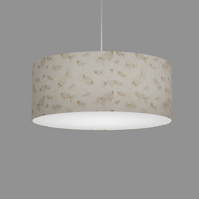 Drum Lamp Shade - P40 - Gold Fish Screen Print on Natural Lokta, 50cm(d) x 20cm(h)