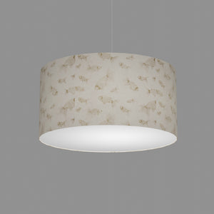 Drum Lamp Shade - P40 - Gold Fish Screen Print on Natural Lokta, 50cm(d) x 25cm(h)