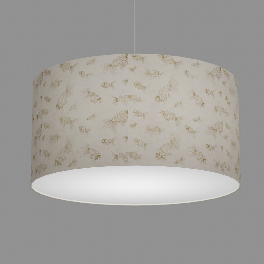 Drum Lamp Shade - P40 - Gold Fish Screen Print on Natural Lokta, 60cm(d) x 30cm(h)
