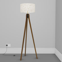 Sapele Tripod Floor Lamp - P40 - Gold Fish Screen Print on Natural Lokta