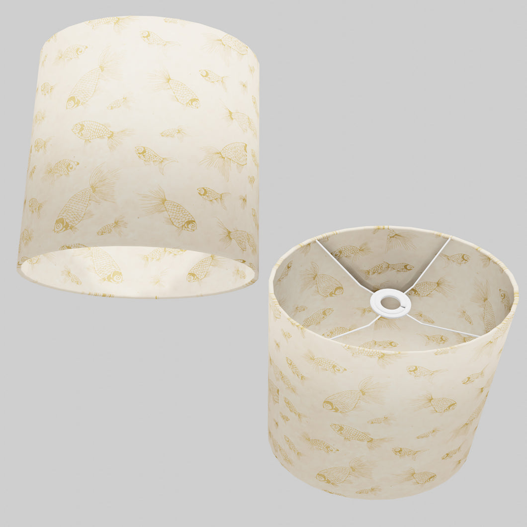Oval Lamp Shade - P40 - Gold Fish Screen Print on Natural Lokta, 30cm(w) x 30cm(h) x 22cm(d)