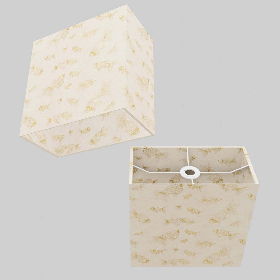 Rectangle Lamp Shade - P40 - Gold Fish Screen Print on Natural Lokta, 30cm(w) x 30cm(h) x 15cm(d)