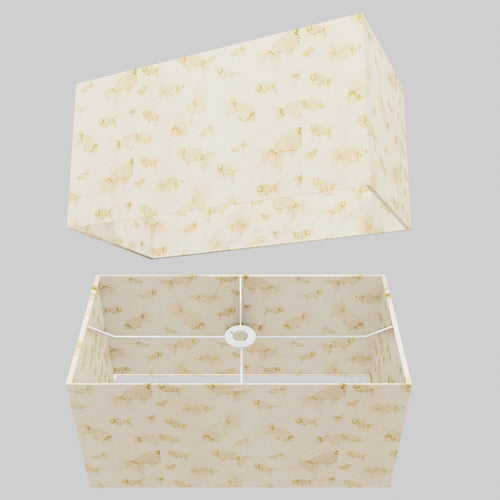 Rectangle Lamp Shade - P40 - Gold Fish Screen Print on Natural Lokta, 50cm(w) x 25cm(h) x 25cm(d)