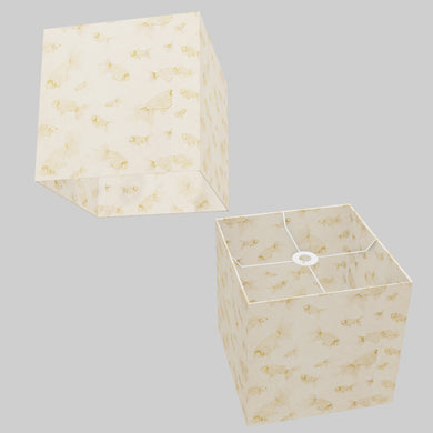 Square Lamp Shade - P40 - Gold Fish Screen Print on Natural Lokta, 30cm(w) x 30cm(h) x 30cm(d)