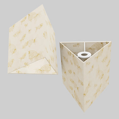 Triangle Lamp Shade - P40 - Gold Fish Screen Print on Natural Lokta, 20cm(w) x 20cm(h)