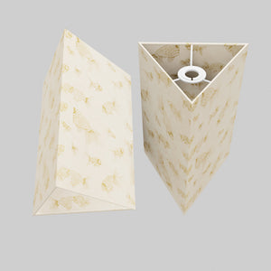 Triangle Lamp Shade - P40 - Gold Fish Screen Print on Natural Lokta, 20cm(w) x 30cm(h)