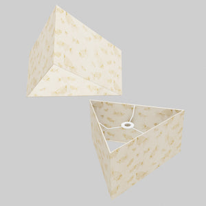 Triangle Lamp Shade - P40 - Gold Fish Screen Print on Natural Lokta, 40cm(w) x 20cm(h)