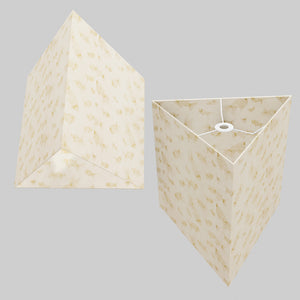 Triangle Lamp Shade - P40 - Gold Fish Screen Print on Natural Lokta, 40cm(w) x 40cm(h)