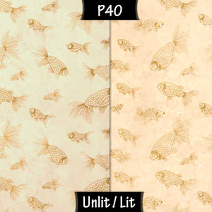 3 Panel Floor Lamp - P40 - Gold Fish Screen Print on Natural Lokta, 20cm(d) x 1.4m(h)