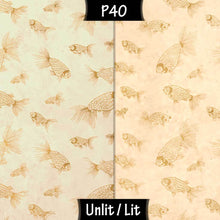 Rectangle Lamp Shade - P40 - Gold Fish Screen Print on Natural Lokta, 30cm(w) x 30cm(h) x 15cm(d) - Imbue Lighting