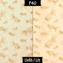 Drum Floor Lamp - P40 - Gold Fish Screen Print on Natural Lokta, 22cm(d) x 114cm(h) - Imbue Lighting