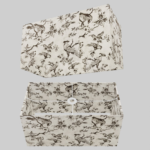 Rectangle Lamp Shade - P41 - Oriental Birds, 50cm(w) x 25cm(h) x 25cm(d)