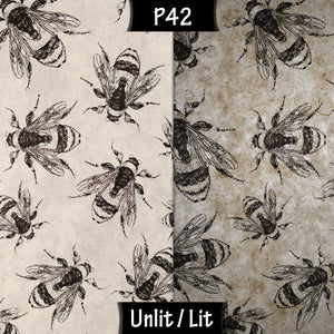 3 Panel Floor Lamp - P42 - Bees Screen Print on Natural Lokta, 20cm(d) x 1.4m(h)