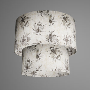 2 Tier Lamp Shade - P42 - Bees Screen Print on Natural Lokta, 40cm x 20cm & 30cm x 15cm