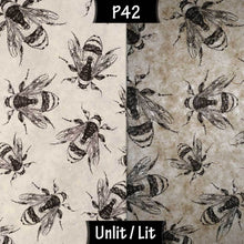 Square Lamp Shade - P42 - Bees Screen Print on Natural Lokta, 40cm(w) x 40cm(h) x 40cm(d) - Imbue Lighting