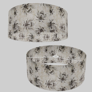 Drum Lamp Shade - P42 - Bees Screen Print on Natural Lokta, 50cm(d) x 20cm(h)