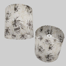 Drum Lamp Shade - P42 - Bees Screen Print on Natural Lokta, 30cm(d) x 30cm(h)