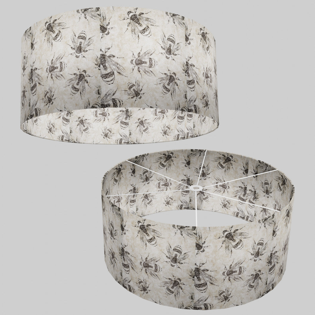 Drum Lamp Shade - P42 - Bees Screen Print on Natural Lokta, 70cm(d) x 30cm(h)