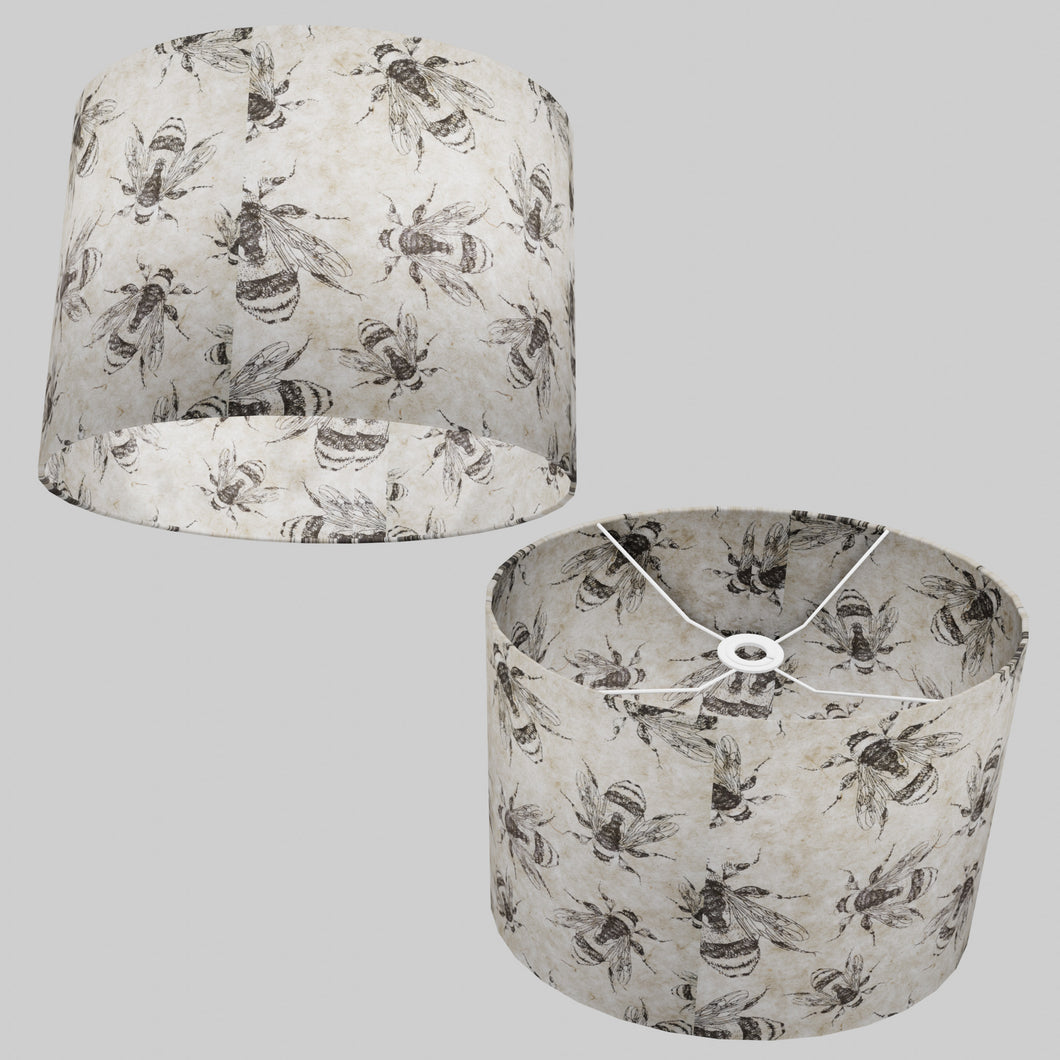 Oval Lamp Shade - P42 - Bees Screen Print on Natural Lokta, 40cm(w) x 30cm(h) x 30cm(d)