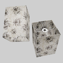 Square Lamp Shade - P42 - Bees Screen Print on Natural Lokta, 20cm(w) x 30cm(h) x 20cm(d)