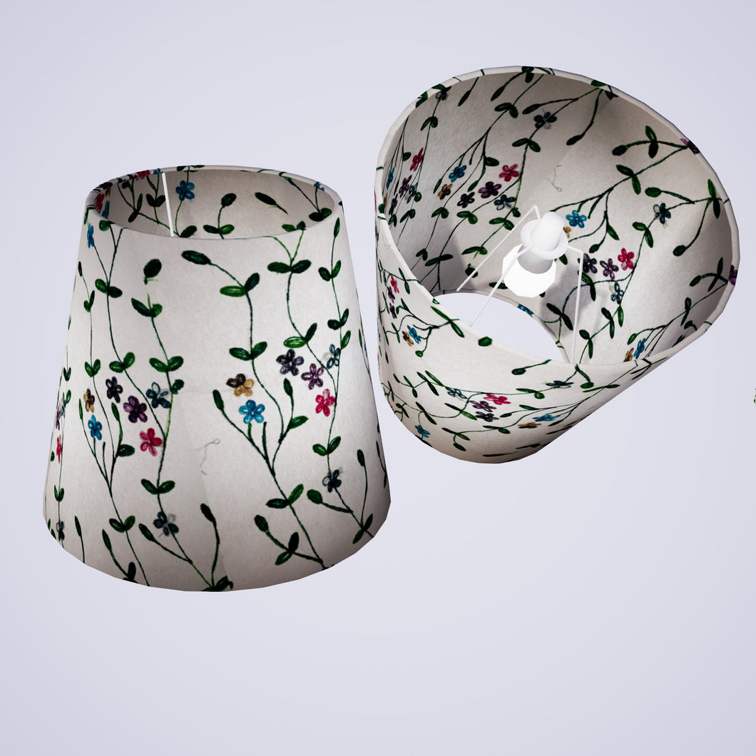 Conical Lamp Shade P43 - Embroidered Flowers on White, 23cm(top) x 35cm(bottom) x 31cm(height)